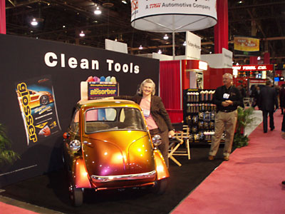 Jan Durham at the Clean Tools booth in Las Vegas NV with her BMW Isetta