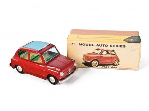 Lot 182: Bandai Fiat 600 Toy Car and Original Box SOLD for $